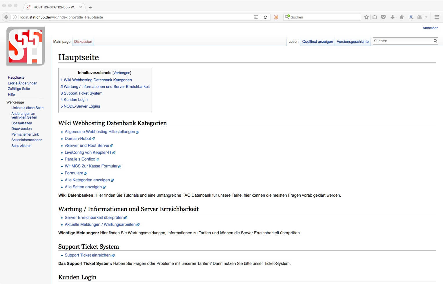 Wikipedia Webhoster FAQ Datenbank